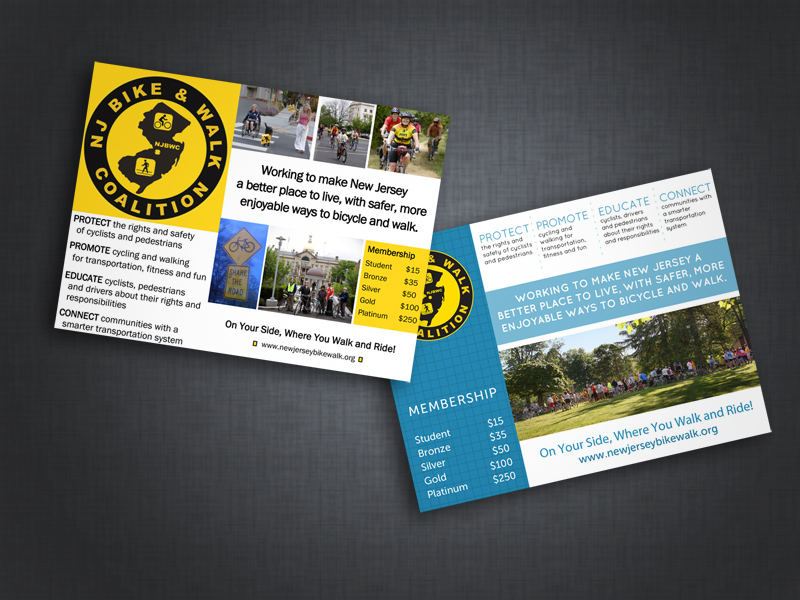 New Jersey Bike & Walk Coalition post card collateral