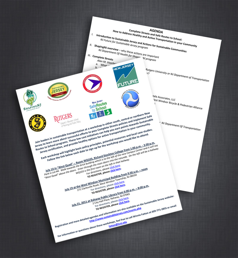 New Jersey Bike & Walk Coalition event materials